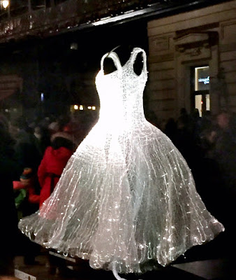 The gorgeous light changing dress at the Liberty of London Store for the London Lumiere Light Show