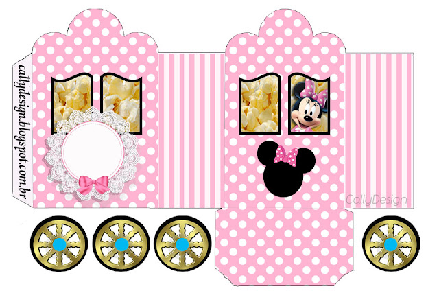 Minnie with Pink Stripes: Princess Carriage Shaped Free Printable Box
