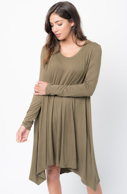 Buy Now Olive Back Raglan Draped Dress Online $38 -@caralase.com