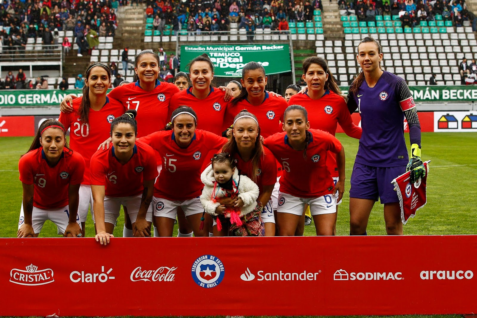 Formación de selección femenina de Chile ante Uruguay, amistoso disputado el 6 de octubre de 2019