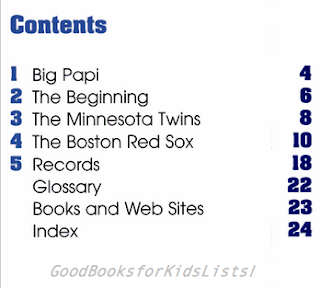 Table of Contents from DAVID ORTIZ: BASEBALL STAR by Ann Hoffman
