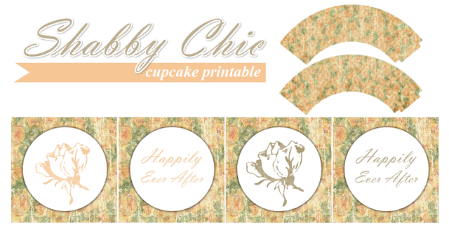 Free Printable Shabby Chic Toppers and Wrappers for Wedding Cupcakes.