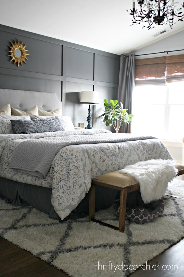 Gray accent wall with trim
