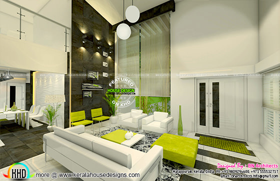 Living room double height interior