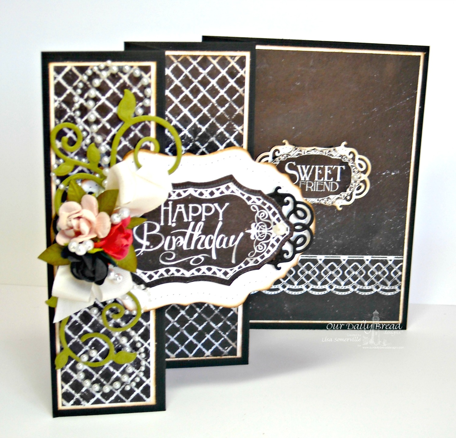 Stamps - Our Daily Bread Designs ODBD Chalkboard Paper Collection, ODBD Custom Fancy Foliage Die, ODBD Custom Vintage Flourish Pattern Die