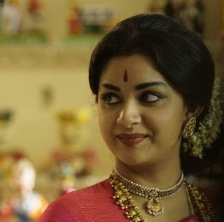 Keerthy Suresh in Red Saree with cute Expressions in Mahanati Working Stills 1