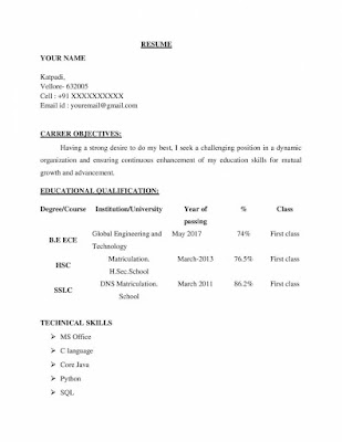 ECE Fresher Resume Format 1