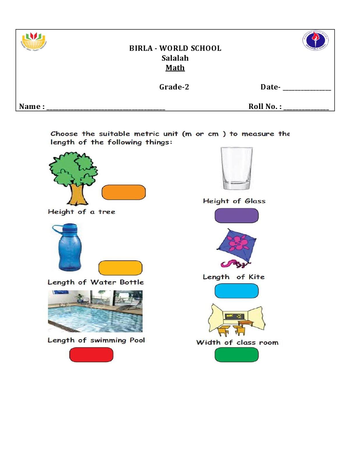 Birla World School Oman Homework For Grade 2b On 14 1 16