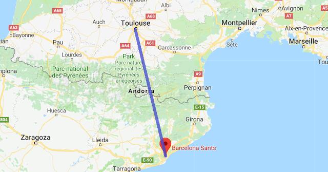 Mapa viagem de trem de Toulouse a Barcelona