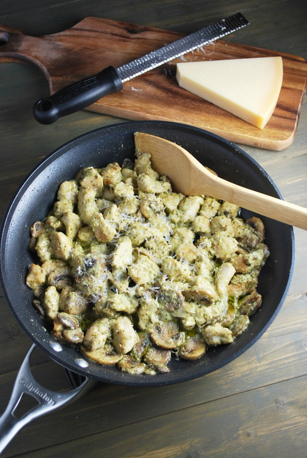 Skillet Pesto Chicken - 11 Easy Chicken Recipes for National Chicken Month | Renee's Kitchen Adventures