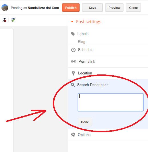 Cara Mengaktifkan Deskripsi Penelusuran Postingan Artikel Blog Blogspot