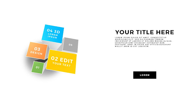 Useful 3D Cube Design Elements for PowerPoint Template with Top views and Lines