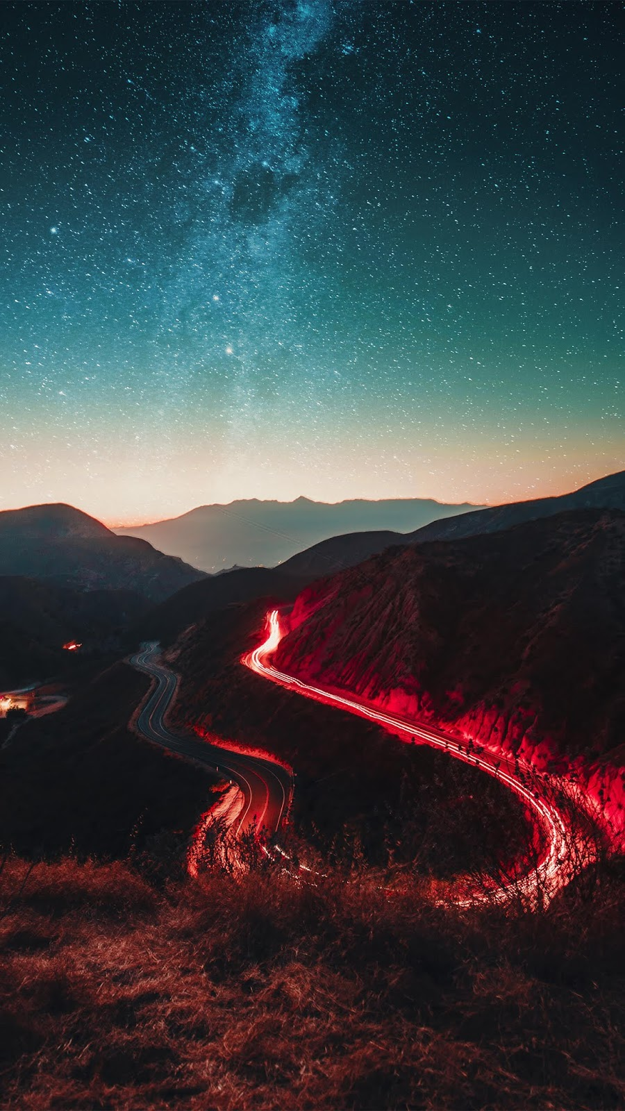 Road in the starry night