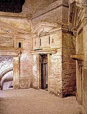 2nd century CE Mausolea in the heart of the catacombs of San Sebastiano.