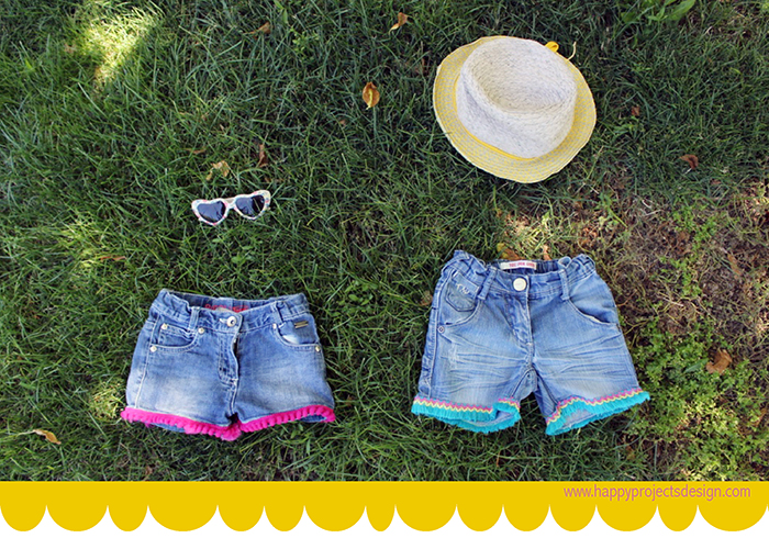 shorts customizados con flecos y madroños