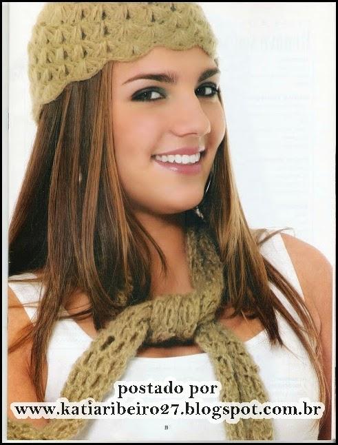 b6999b2d84b3e Touca e cachecol em crochê com gráfico e receita - Katia Ribeiro Crochê  Moda e Decoração