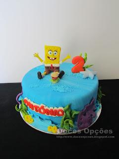 Bob Esponja Calça Quadrada bolo parabens
