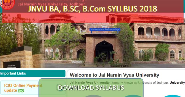 JNVU Arts Syllabus:- JNVU Ba, bed, B P ed, MA M ed 1st, 2ed, 3rd