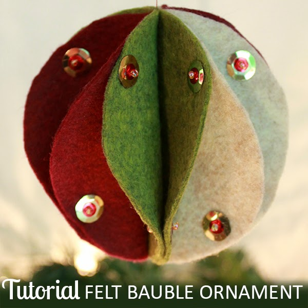 Felt Bauble Ornament Tutorial | The Inspired Wren #christmasornament #feltornament