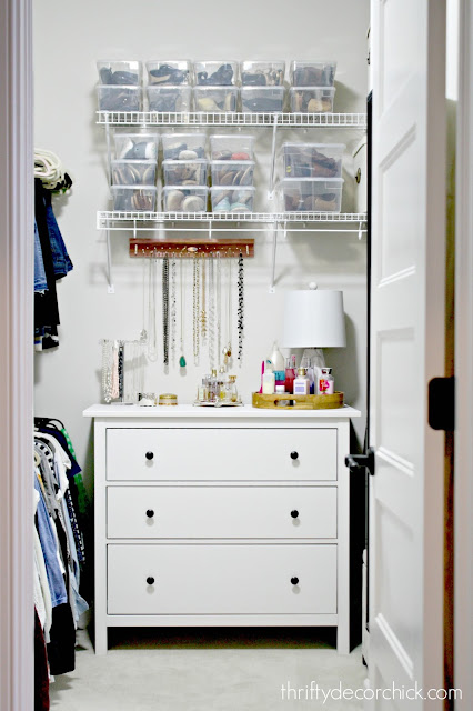 Ideas for jewelry and shoe storage in closet