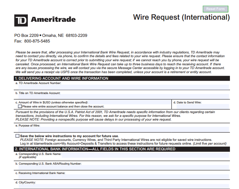 ameritrade wire transfer price of gold in inr rh powerranger ml wiring instructions for td ameritrade wiring instructions td ameritrade