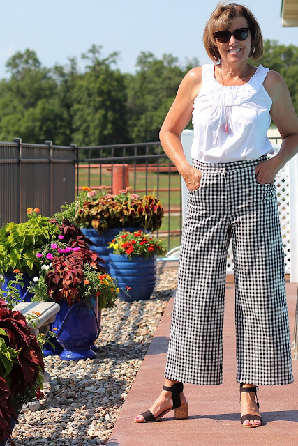 Mood Fabrics' gingham cotton stretch twill made into McCall's 7445
