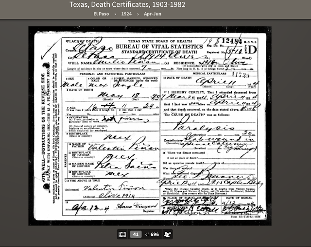 Death certificate stab wound to spine 1924 Texas