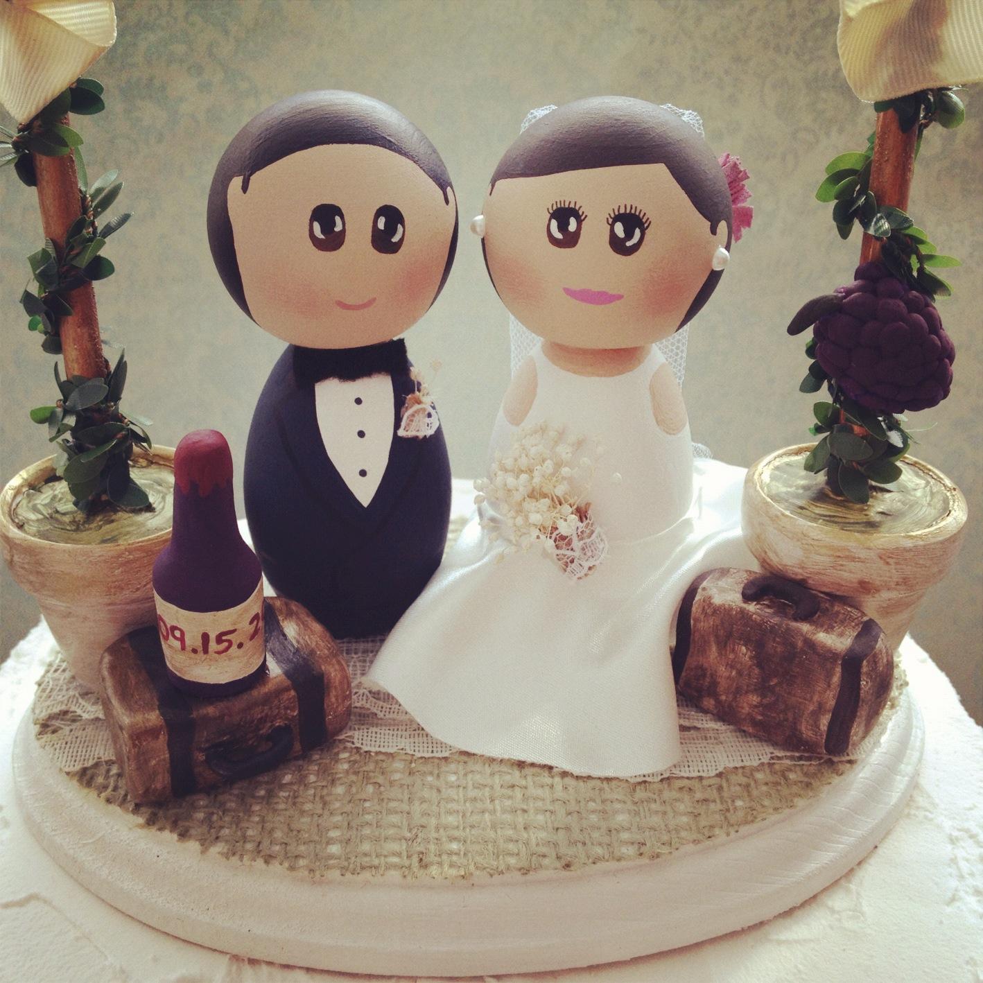 DSMeeBee: Winery Wedding Theme Cake Topper Base With Bride