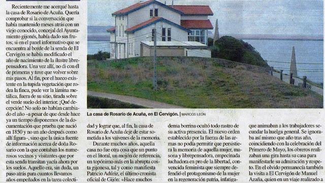 Fragmento del escrito sobre la casa de Rosario de Acuña publicado en noviembre de 2018