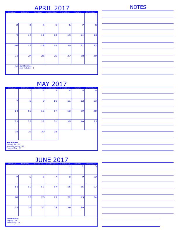 Blank Calendar April May June : April may june months printable calendar
