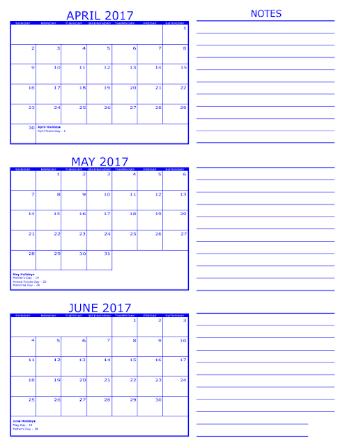 April May June 3 Months Printable Calendar 2017, April May June 3 Months Calendar 2017, April May June 3 Months Calendar Printable 2017, April May June 3 Months Calendar Template 2017