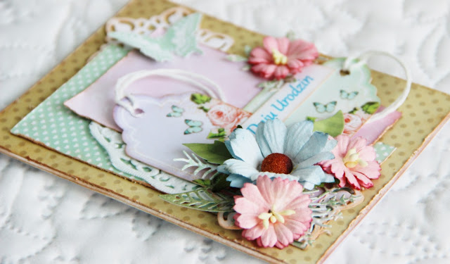 kartka z tagiem, kartka warstwowa, kartka urodzinowa, kartka dla przyjaciółki