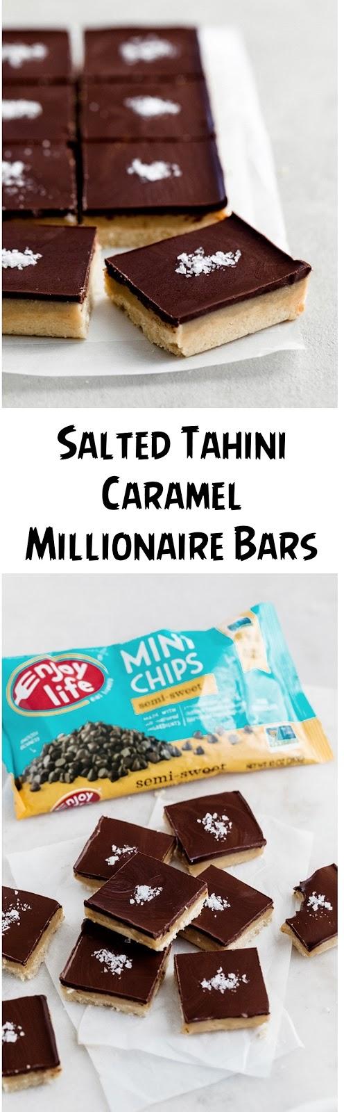 Salted Tahini Caramel Millionaire Bars