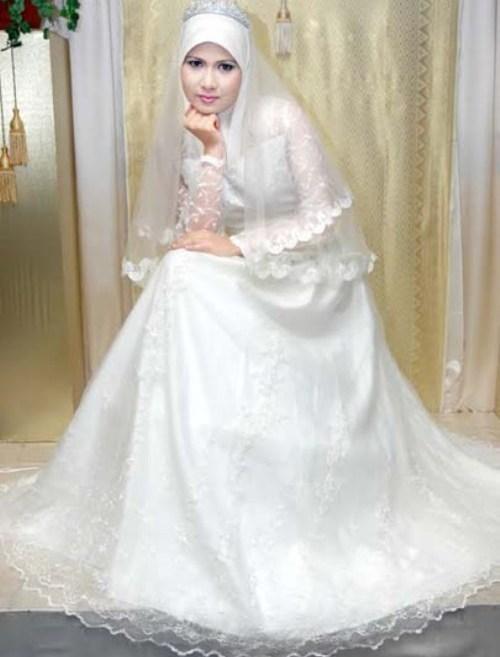 Gaun Pengantin Muslimah Warna Putih Terbaru 2017