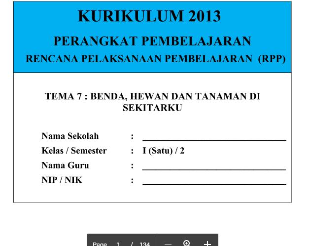 RPP Kurikulum 2013 SD Kelas 1 Semester 2 Tema 7 Benda Hewan Dan Tanaman Di Sekitarku Revisi Terbaru
