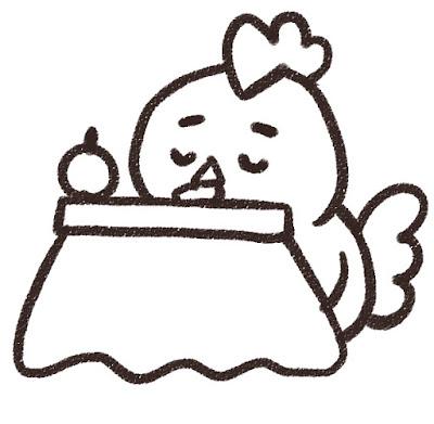 コタツでくつろぐニワトリのイラスト(酉年・白黒線画)
