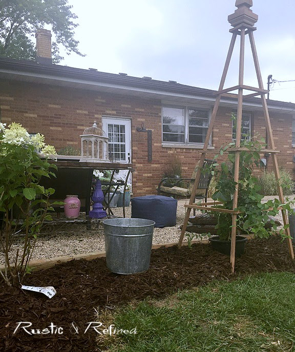 New obelisks and new garden bed
