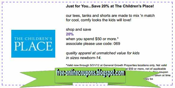 Coupons children's place