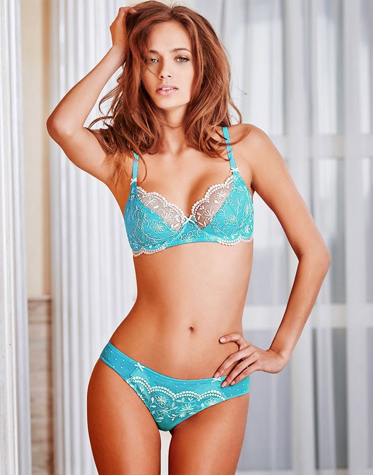 bra and panties Sheer blue