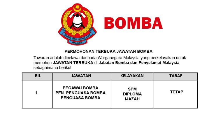Permohonan Terbuka Jawatan di Jabatan Bomba dan Penyelamat Malaysia