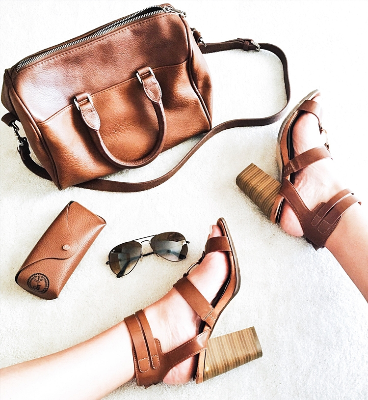 Brown tan leather sandals sunglasses and purse