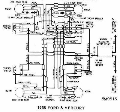 Ford Mercury and Thunderbird 1958 Windows Wiring Diagram