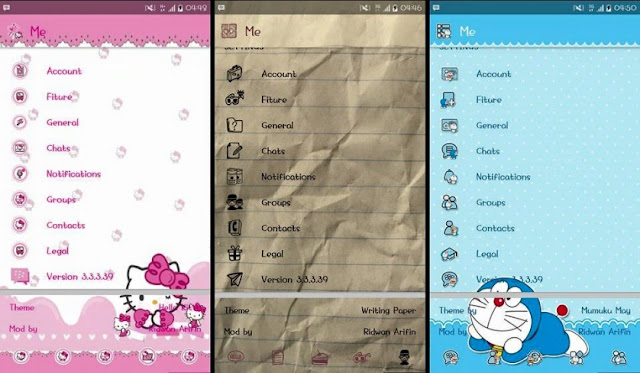 Tema BBM MOD Lucu Gratis 2017 (Paper, Hello Kitty, Doraemon)