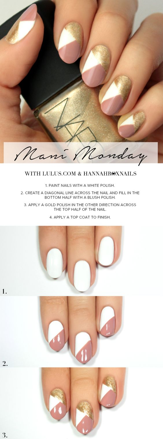 BEAUTY–Mani Monday: Pink and Gold Geo Nail Tutorial