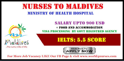 Staff nurse for Maldives (MOH)