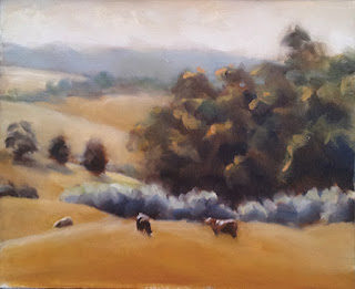 Oil painting of a landscape with rolling hills and trees, with three cows in the foreground.