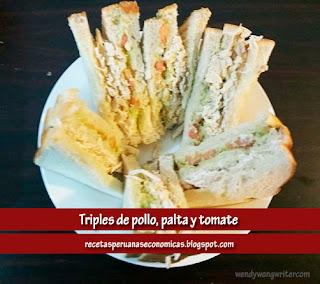 triple de tomate, palta y pollo
