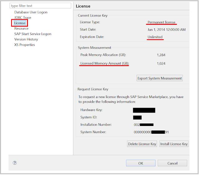 SAP HANA license and system information