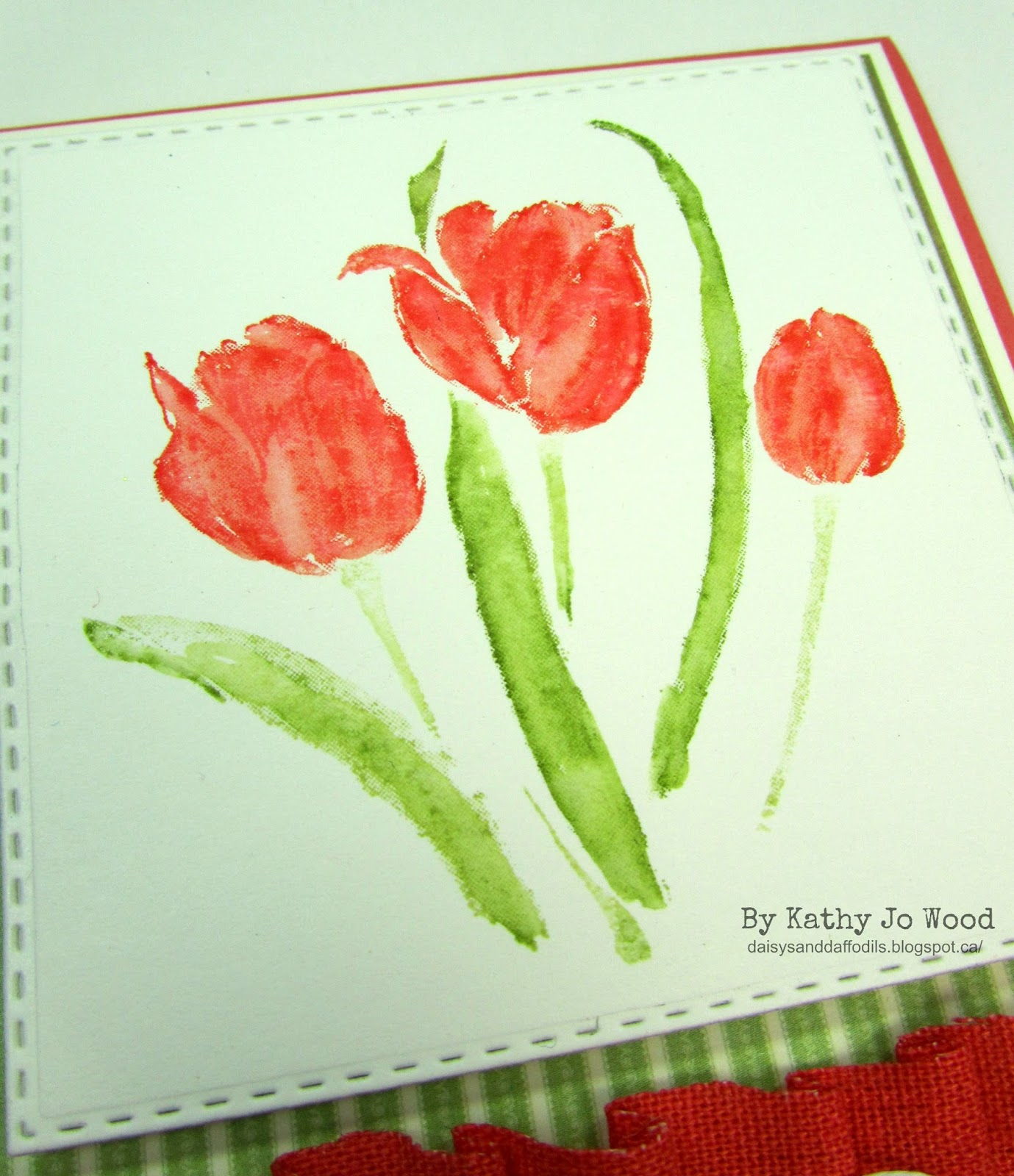 "I m a Little Teapot Watercolor Tulips ""Happy Birthday"" card"