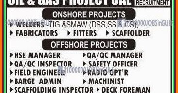 Free job Recruitment for Oil & Gs Onshore & Offshore Project UAE Job